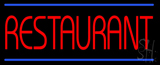 Red Restaurant Blue Border Neon Sign