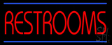 Red Restrooms with Blue Lines LED Neon Sign