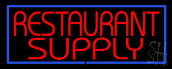 Red Restaurant Supply with Blue Border Neon Sign