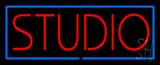 Red Studio Blue Border Neon Sign