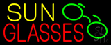 Yellow Sun Red Glasses with Logo Neon Sign