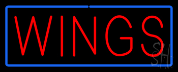 Red Wings with Blue Border Neon Sign