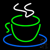 Green Coffee Cup Logo LED Neon Sign