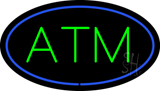 Oval ATM Blue Border Neon Sign