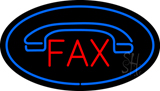 Fax Oval Blue with Logo  Neon Sign