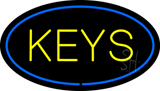 Keys Oval Blue Neon Sign