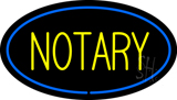Yellow Notary Oval Blue Border Neon Sign