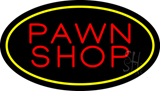 Pawn Shop Oval Yellow Neon Sign