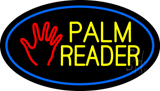 Palm Reader Logo Blue Oval Neon Sign