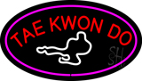 Tae Kwon Do Logo Oval Purple Neon Sign