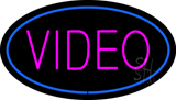 Purple Video Blue OvalNeon Sign