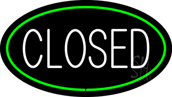 Closed Oval Green Neon Sign