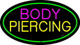 Oval Pink Body Green Piercing LED Neon Sign