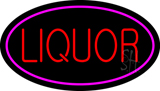 Oval Red Liquor Pink Border Neon Sign