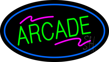 Arcade Oval Blue Neon Sign