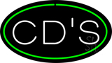 CDs Oval Green Neon Sign