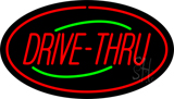 Drive-Thru Oval Red Neon Sign