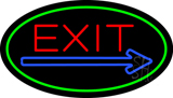 Exit Oval Green Neon Sign
