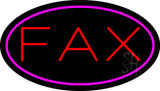 Fax Oval Pink Border Neon Sign