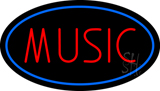 Red Music Blue Oval Neon Sign