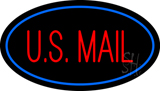 US Mail Oval Blue Neon Sign