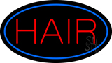 Hair Oval Blue Neon Sign