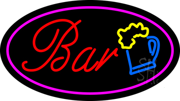 Purple Oval Bar w/Beer Mug Neon Sign