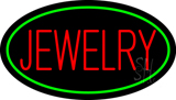 Jewelry Block Oval Green Neon Sign