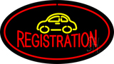 Auto Registration Oval Red Neon Sign