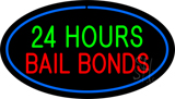 24 Hours Bail Bonds Oval Blue Neon Sign