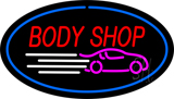 Body Shop Blue Oval Neon Sign