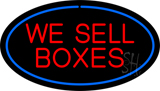 We Sell Boxes Oval Blue Neon Sign