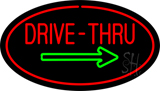 Drive-Thru Oval Red Green Arrow Neon Sign