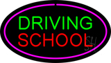 Driving School Purple Oval Neon Sign