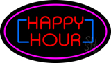 Happy Hour Oval Pink Neon Sign