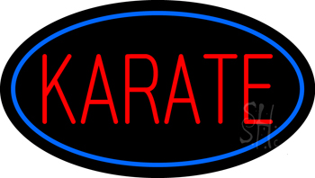 Karate Oval Blue Neon Sign