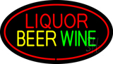 Liquor Beer Wine Oval Red Neon Sign