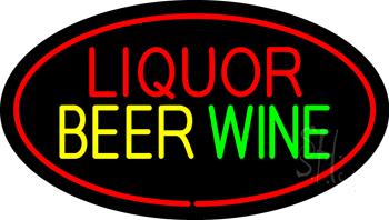 Liquor Beer Wine Oval Red Neon Sign
