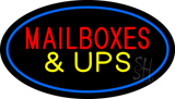 Mail Boxes and UPS Oval Blue Neon Sign