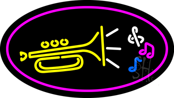 Trumpet Logo Oval Purple Neon Sign