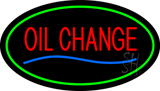 Oil Change Green Oval Neon Sign