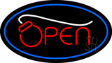 Open Oval Blue Neon Sign