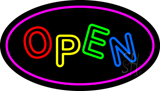 Open Oval Purple Neon Sign