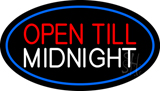 Open Till Midnight Oval Blue Neon Sign