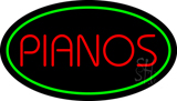 Pianos Oval Green Neon Sign