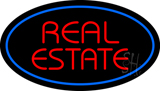 Real Estate Oval Blue Neon Sign