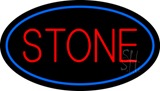 Stone Oval Blue Neon Sign