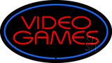 Video Games Oval Blue Neon Sign