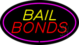 Yellow Bail Bonds Pink Oval Border Neon Sign