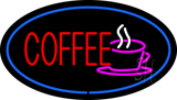 Oval Red Coffee Blue Border Neon Sign